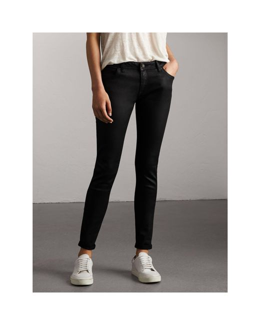 Burberry | Black Skinny Fit Low-rise Wax Coated Jeans | Lyst
