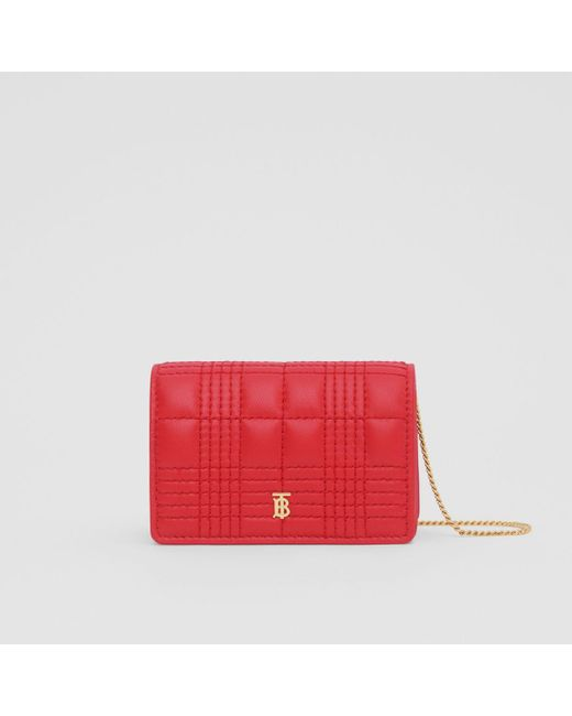 Burberry Red Quilted Lambskin Card Case With Detachable Strap