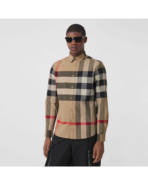 Burberry Natural Check Stretch Cotton Poplin Shirt for men