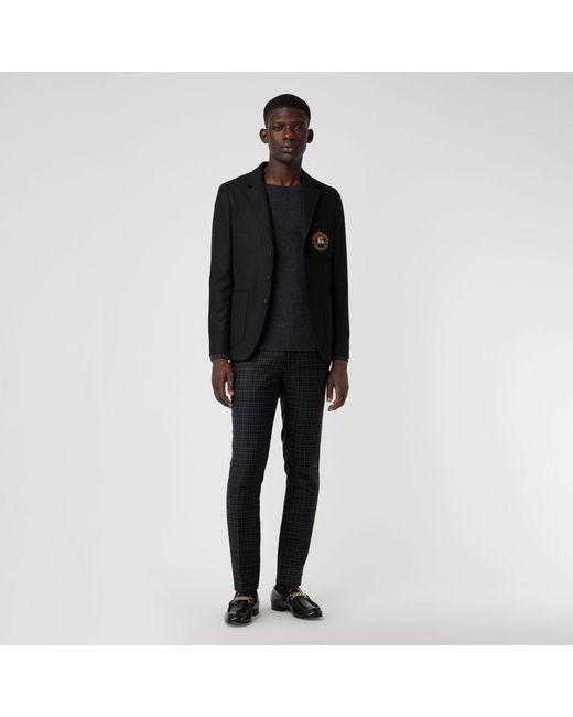 Burberry - Black Slim Fit Embroidered Crest Wool Club Blazer for Men - Lyst