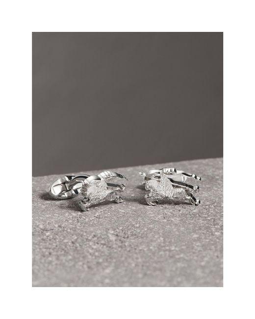 Burberry - Metallic Equestrian Knight Cufflinks Silver for Men - Lyst