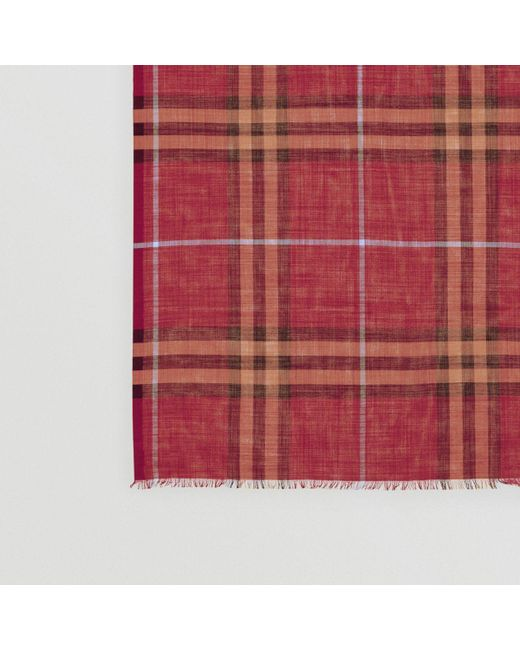 75a8f8773909 ... Burberry - Red Lightweight Check Wool And Silk Scarf - Lyst ...