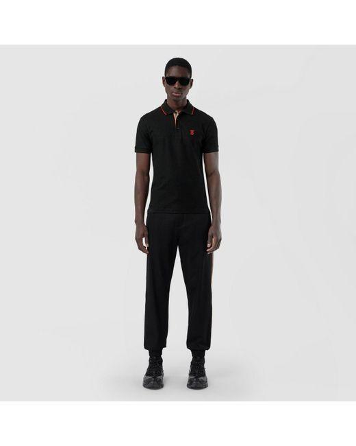 Burberry Black Icon Stripe Placket Piqué Polo Shirt for men
