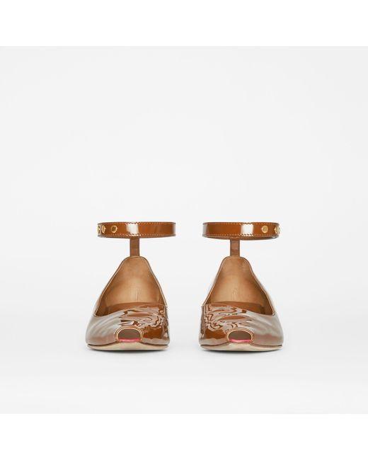 2d7ef07fecff ... Burberry - Brown Patent Leather Peep-toe Kitten-heel Pumps - Lyst ...