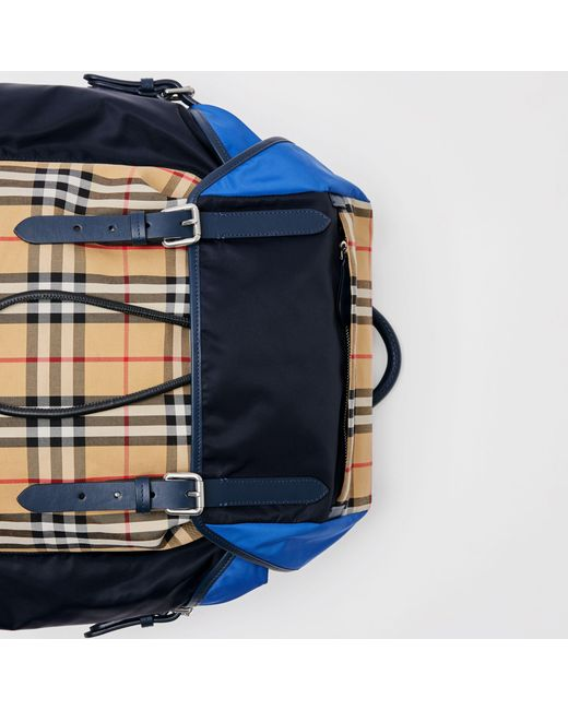 dfdf11af6182 ... Burberry - Blue Colour Block Vintage Check And Leather Backpack for Men  - Lyst ...