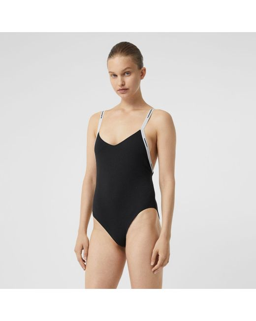 Burberry Black Logo Tape Swimsuit