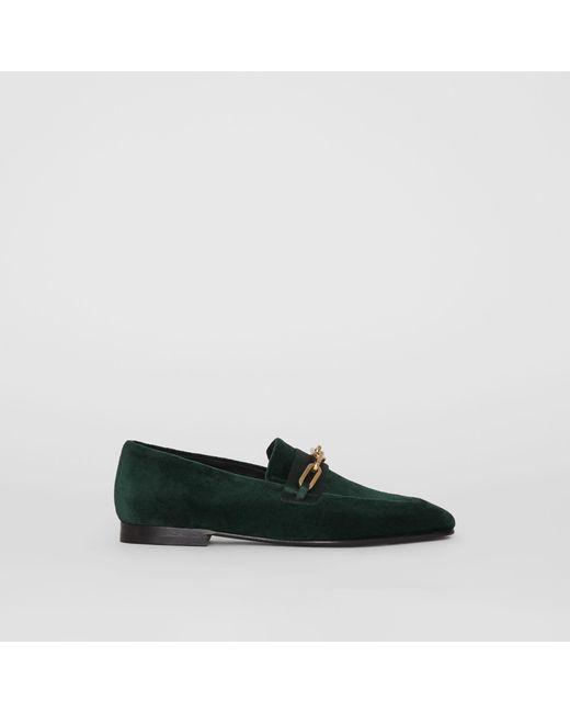 d2e904bacd0 Burberry - Green Link Detail Velvet Loafers - Lyst ...