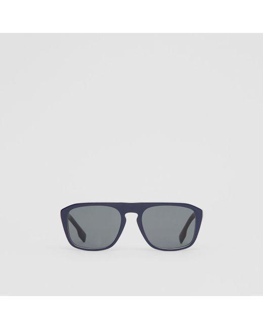 5c1d77a7b5 Burberry - Blue Icon Stripe Detail Square Frame Sunglasses for Men - Lyst  ...