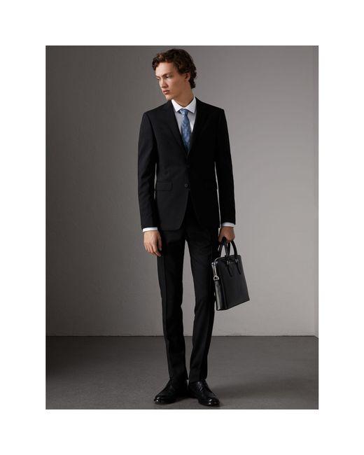 Burberry | Slim Fit Wool Part-canvas Suit Black for Men | Lyst