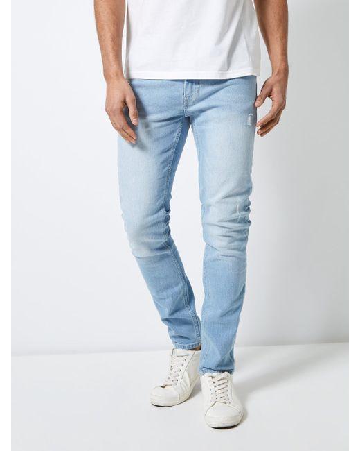 66281dd6d Men's Blue Ripped Light Wash Tyler Skinny Fit Jeans