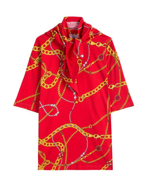 Balenciaga Printed T Shirt With Scarf In Red Lyst