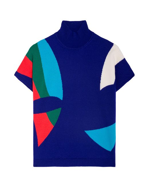 Delpozo   Blue Printed Short Sleeve Top   Lyst