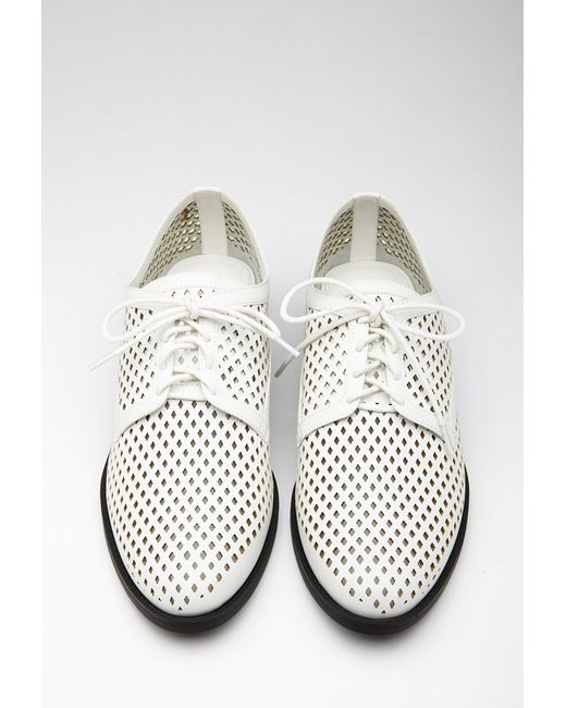 Forever 21 | White Perforated Faux Leather Oxfords | Lyst