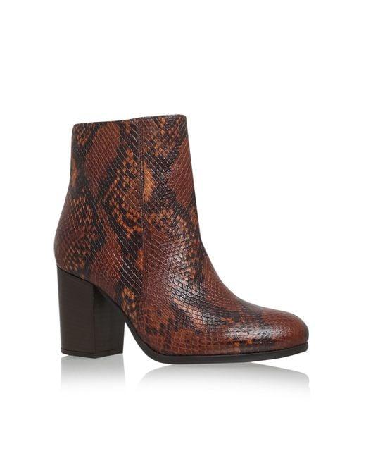 Carvela Kurt Geiger | Brown Sherbert Mid Heel Ankle Boots | Lyst