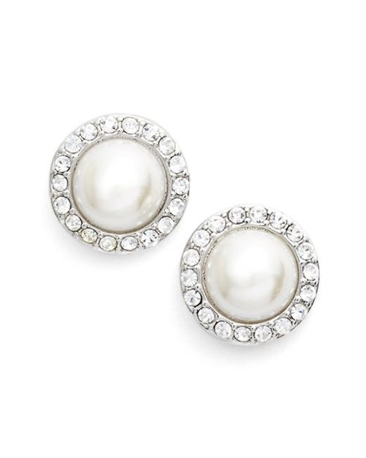 Givenchy | Metallic Pave Faux Pearl Button Earrings | Lyst