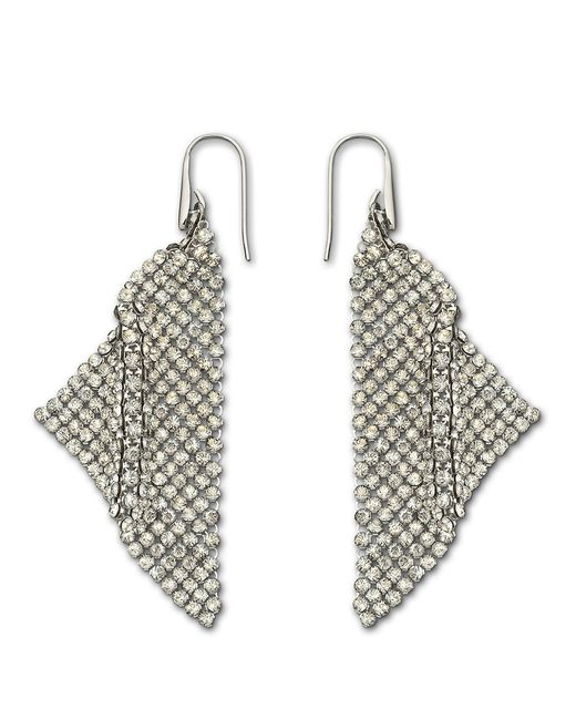 Swarovski | Metallic Fit Silver Shade Mesh Statement Earrings | Lyst