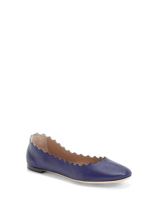 Chloé | Blue Lauren Scalloped Flat | Lyst