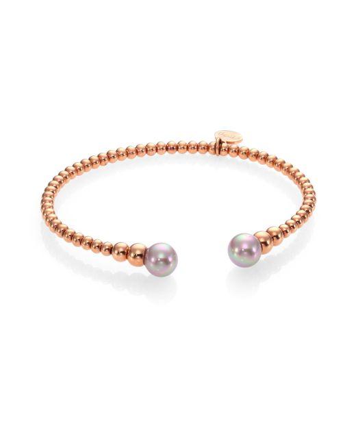 Majorica   Metallic 18k Goldplated Graduated Bead and Organic Manmade Pearl Bangle Bracelet   Lyst