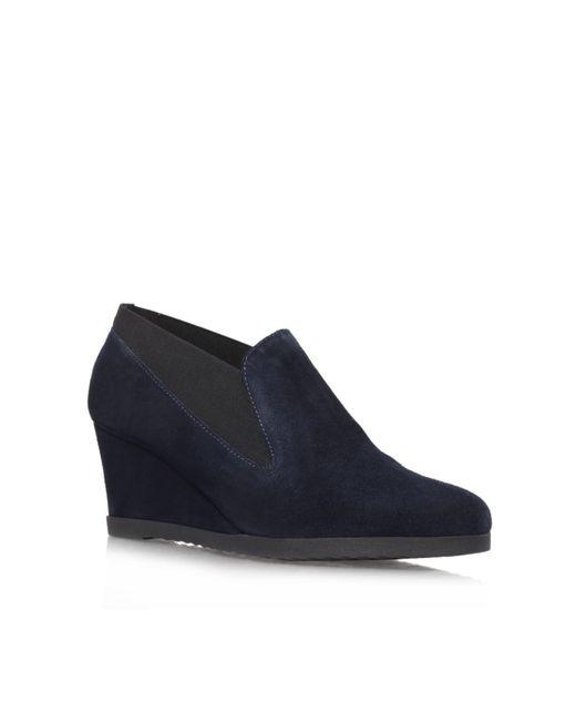 carvela kurt geiger alpha wedge shoe boots in blue navy