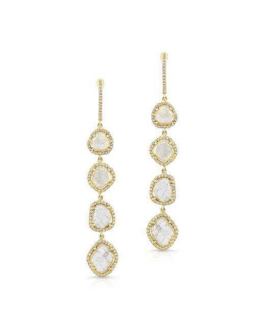 Anne Sisteron - Metallic 14kt Yellow Gold 4 Diamond Sliced Drop Earrings - Lyst