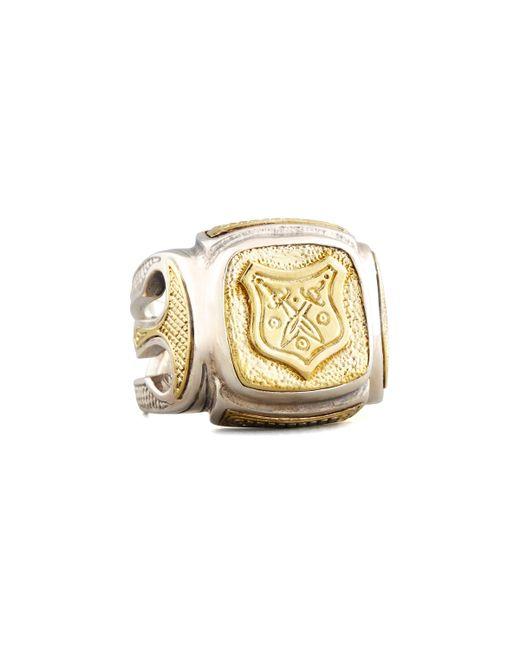 Konstantino   Metallic Myrmidones Men's Etched Shield Ring for Men   Lyst
