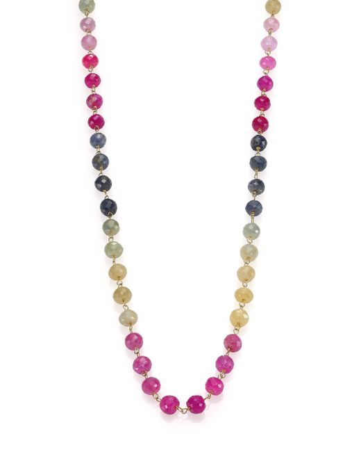 Ron Hami | Multicolor Sapphire & 18k Yellow Gold Beaded Strand Necklace | Lyst