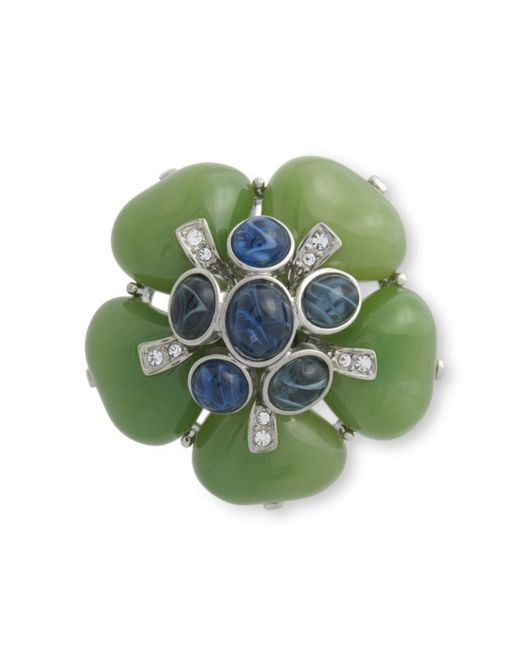 Kenneth Jay Lane | Green Jade Flower Brooch | Lyst