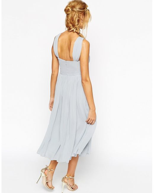 Asos wedding midi dress with halter neck detail in blue for Wedding dress with blue detail
