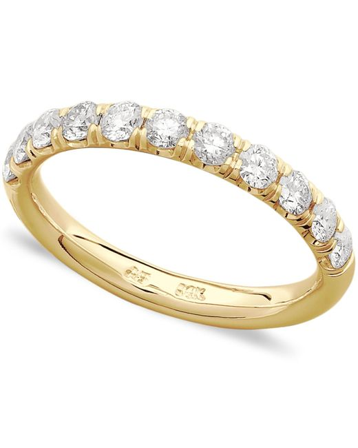 Macy s Pave Diamond Band Ring In 14k White Yellow Gold 3 4 Ct T w