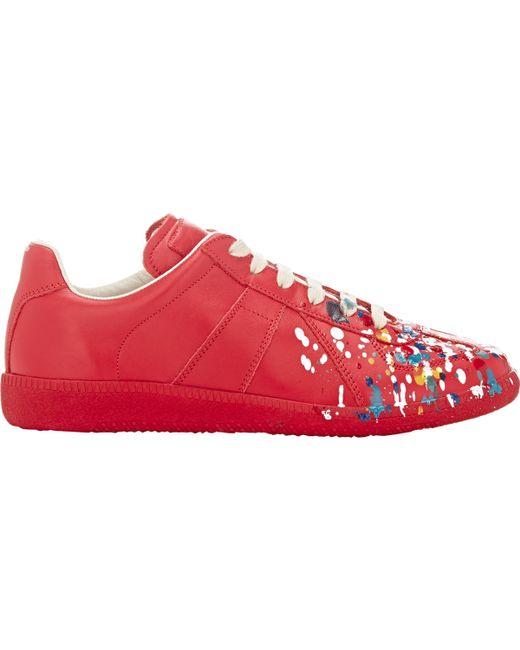 Red Maison Margiela Sneakers With Paint