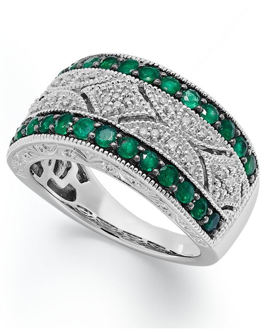 Macy's | Green Emerald (1/2 Ct. T.w.) And Diamond (1/10 C.t. T.w.) Antique Band In Sterling Silver | Lyst
