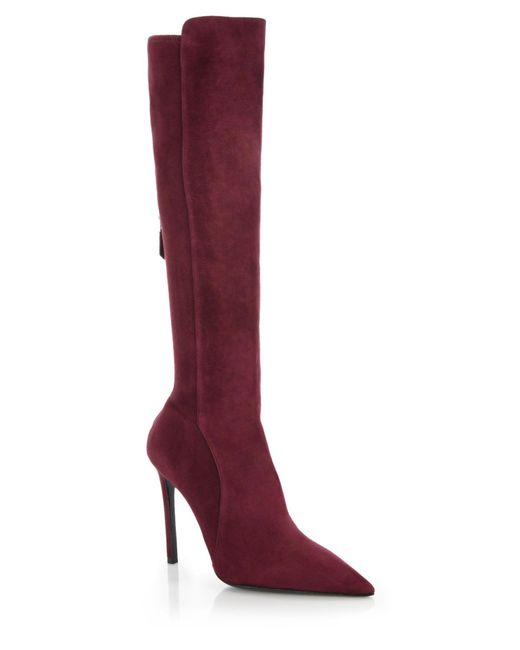 prada stretch suede knee high boots in purple bordeaux