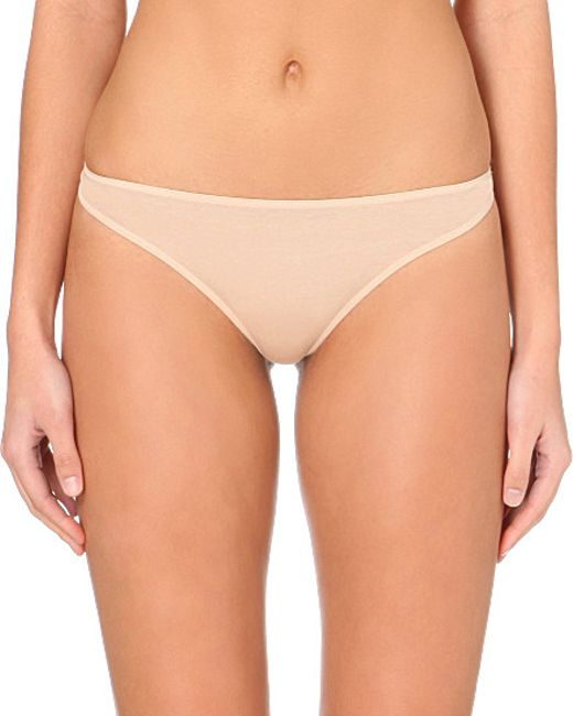 Hanro | Natural Ultralight Cotton Thong | Lyst