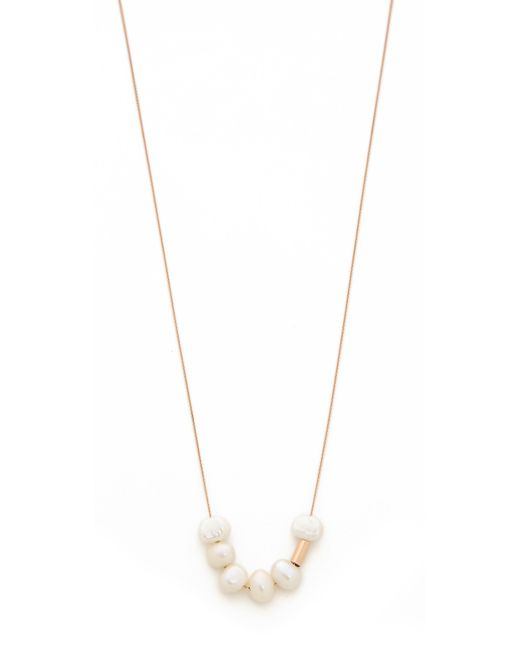 Ginette NY | Metallic Tube Bead Necklace With Cultured Freshwater Pearls | Lyst
