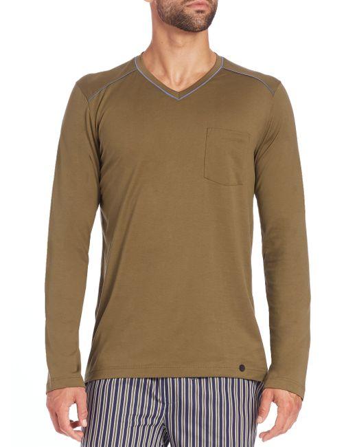 Hanro | Green Alphonse Long-sleeved Cotton T-shirt for Men | Lyst