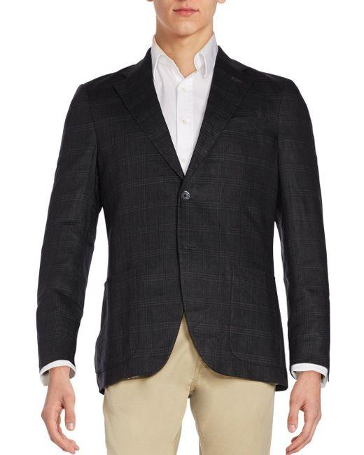 Atelier scotch slim fit plaid linen sportcoat in black for for Atelier maison scotch