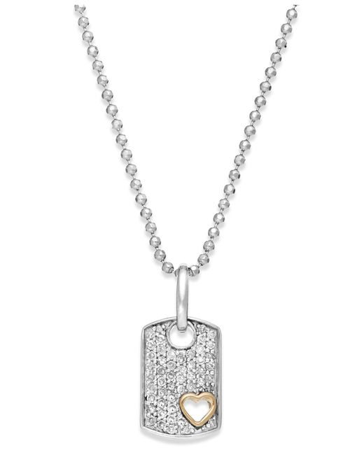 Macy's | Metallic Diamond Heart Dog Tag Pendant Necklace In Sterling Silver And 14k Gold (1/5 Ct. T.w.) | Lyst