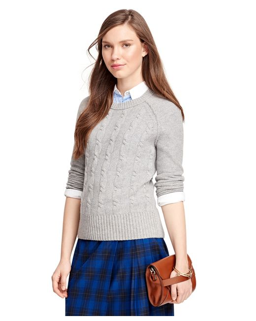 Brooks Brothers   Gray Cashmere Cable Sweater   Lyst