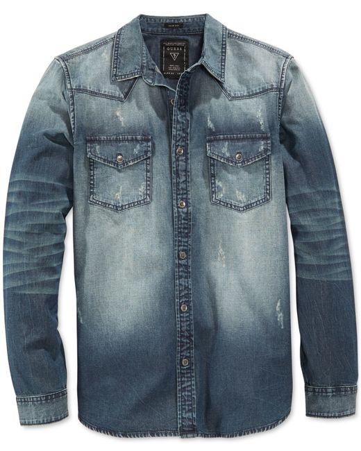 Guess Men 39 S Slim Fit Western Long Sleeve Storied Wash