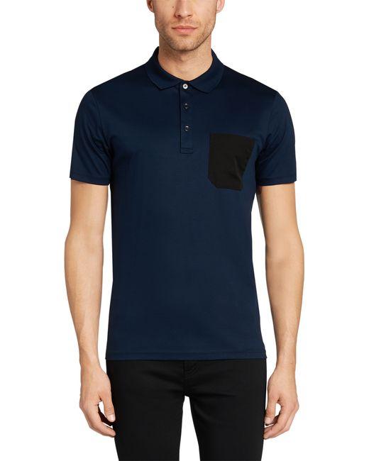 HUGO   Blue Sdeven Knitted Long Sleeved Polo for Men   Lyst