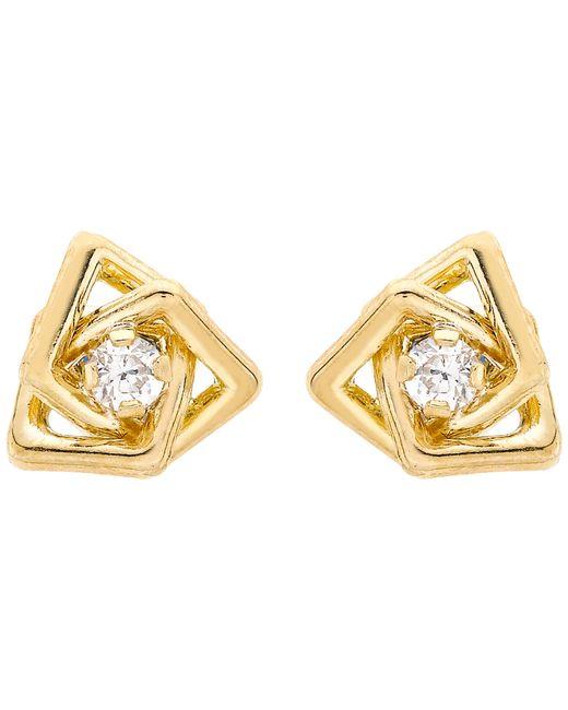 Ib&b | Metallic 9ct Yellow Gold Cubic Zirconia Triple Square Stud Earrings | Lyst