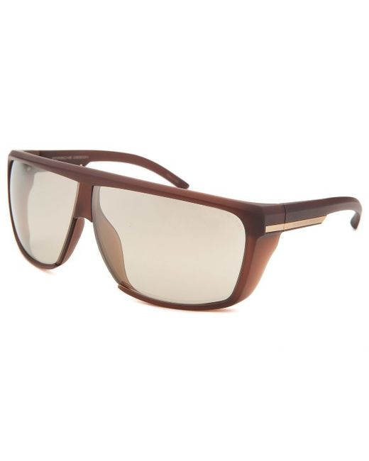 Porsche Design Men S Rectangle Brown Sunglasses In Brown
