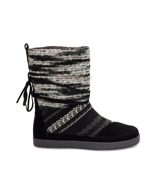 Toms Black Suede Textile Mix Women S Nepal Boots In Black