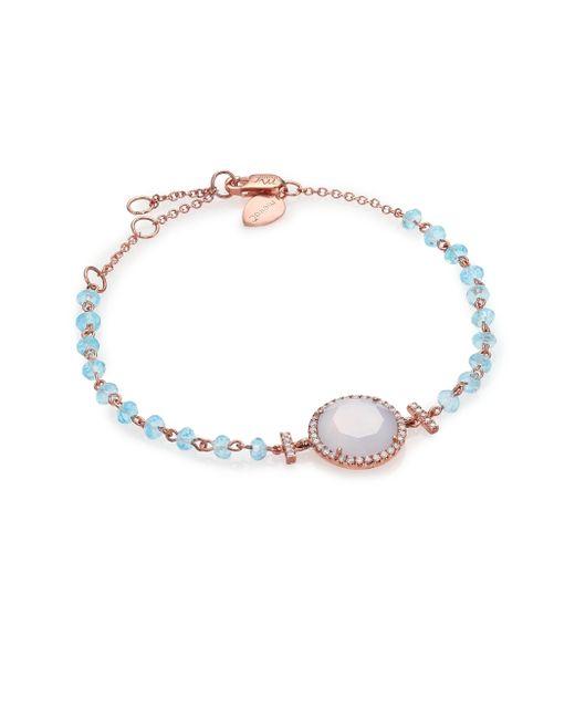 Meira T | Pink Chalcedony, Mother-of-pearl, Blue Topaz, Diamond & 14k Rose Gold Beaded Bracelet | Lyst