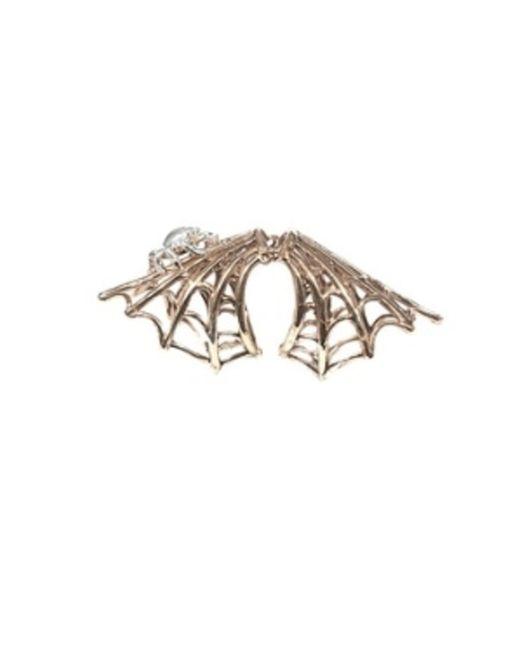 Bernard Delettrez | Metallic Bronze Articulated Spiderweb Ring With Silver Spider | Lyst
