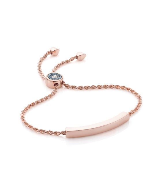 Monica Vinader   Pink Linear Evil Eye Toggle Bracelet - Blue & White Diamonds   Lyst