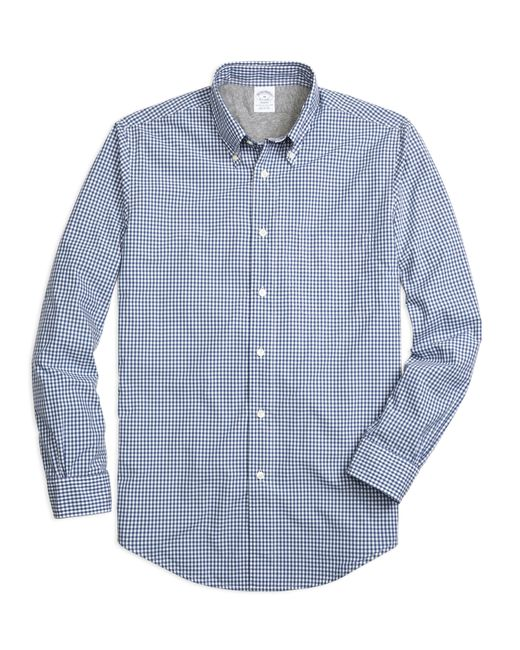 Brooks Brothers | Blue Regent Fit Cotton Jersey Lined Gingham Sport Shirt for Men | Lyst
