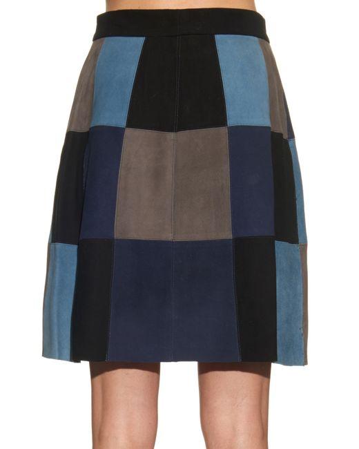 sea patchwork suede mini skirt in blue blue multi save