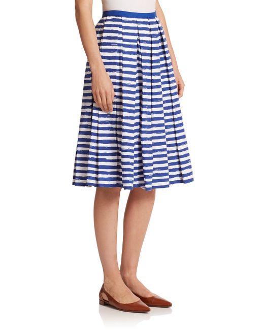 michael kors pleated stripe skirt in blue white cobalt