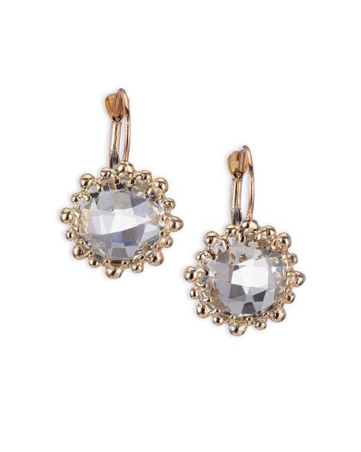 Anzie | Blue Dew Drop White Topaz & 14k Yellow Gold Earrings | Lyst